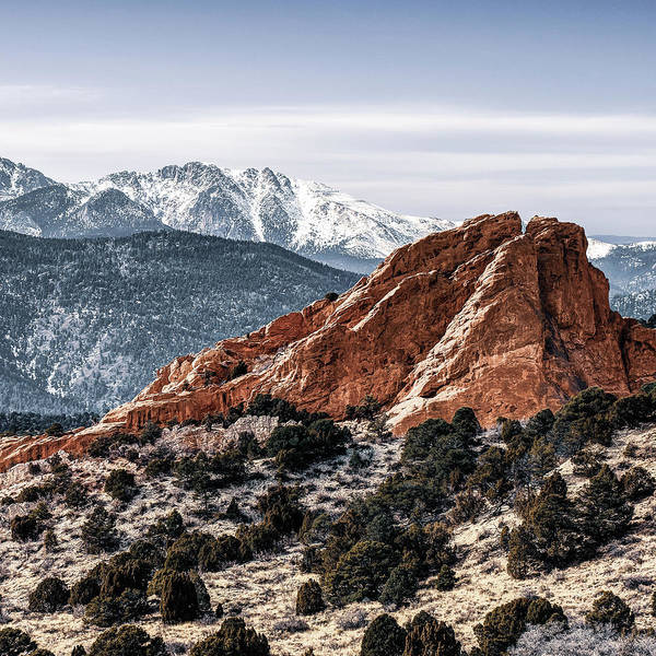 Photograph - Right Panel 3 Of 3 - Pikes Peak Panoramic Mountain Landscape With Garden Of The Gods by Gregory Ballos