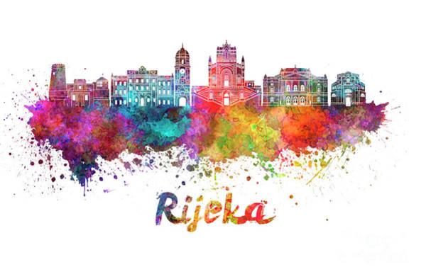 Wall Art - Painting - Rijeka Skyline In Watercolor Splatters  by Pablo Romero