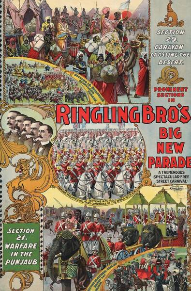 Wall Art - Mixed Media - Ringling Brothers Big New Parade 1899 by Library Of Congress