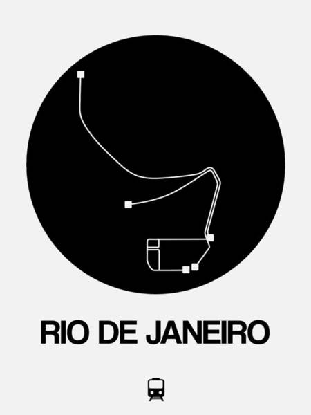 Wall Art - Digital Art - Rio De Janeiro Black Subway Map by Naxart Studio