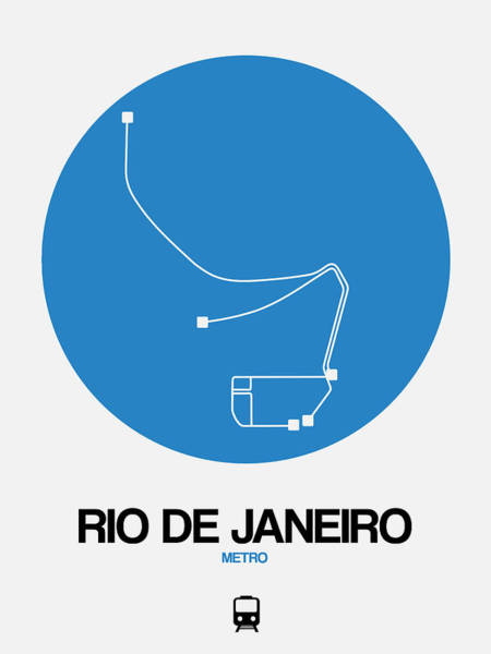 Wall Art - Digital Art - Rio De Janeiro Blue Subway Map by Naxart Studio