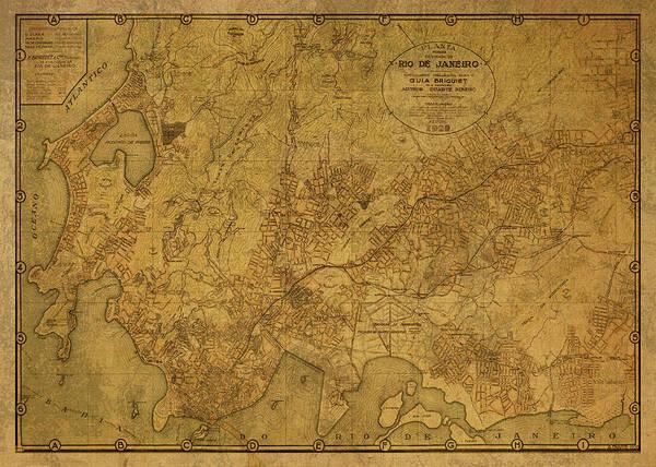 South America Mixed Media - Rio De Janeiro Brazil Vintage Map 1929 by Design Turnpike