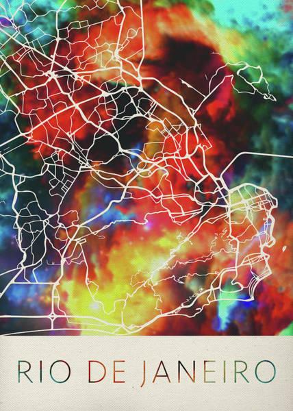 South America Mixed Media - Rio De Janeiro Brazil Watercolor City Street Map by Design Turnpike