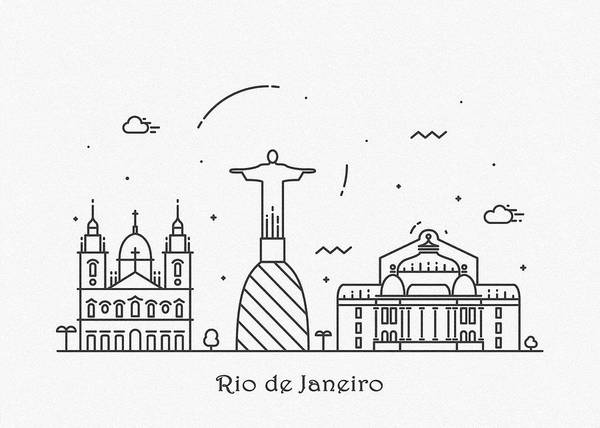 Wall Art - Drawing - Rio De Janeiro Cityscape Travel Poster by Inspirowl Design