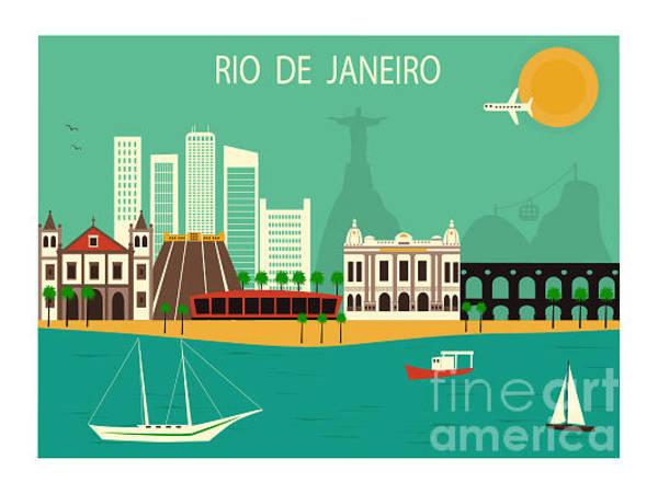 Panoramic Digital Art - Rio De Janeiro  In Brazil. Vector by Ladoga