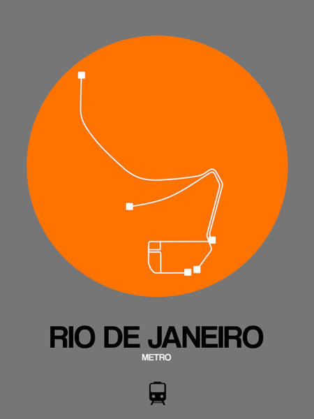 Wall Art - Digital Art - Rio De Janeiro Orange Subway Map by Naxart Studio