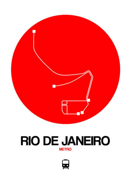 Wall Art - Digital Art - Rio De Janeiro Red Subway Map by Naxart Studio