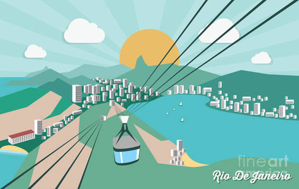 South Atlantic Wall Art - Digital Art - Rio De Janeiro - Vector Illustration by Petrovic Igor