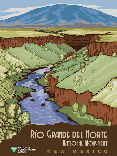 Wall Art - Mixed Media - Rio Grande Del Norte National Monument, New Mexico Travel Poster by B L M