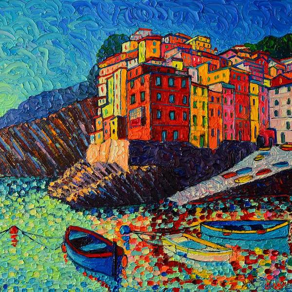 Painting - Riomaggiore At Dusk Cinque Terre Italy Textural Impressionist Knife Oil Painting Ana Maria Edulescu by Ana Maria Edulescu