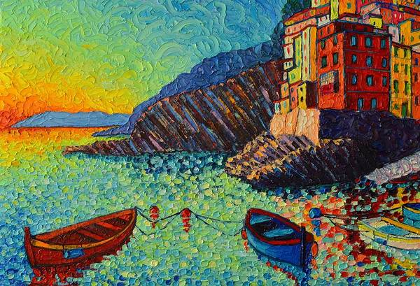 Painting - Riomaggiore Boats At Sunset Cinque Terre Italy Textural Palette Knife Painting By Ana Maria Edulescu by Ana Maria Edulescu