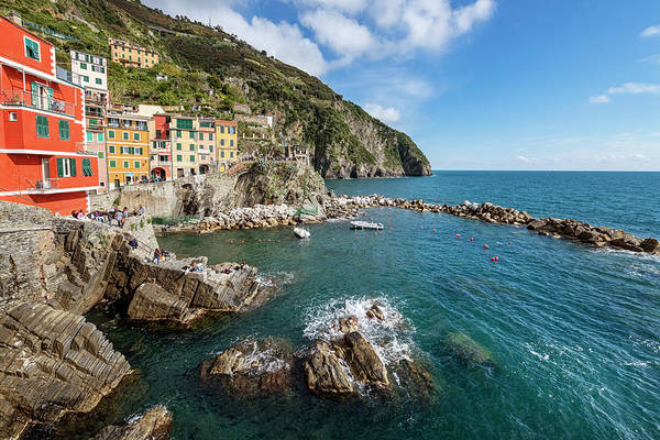 Photograph - Riomaggiore Cinque Terre Italy Gathering Place by Joan Carroll