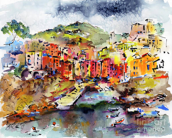 Painting - Riomaggiore Cinque Terre Italy by Ginette Callaway