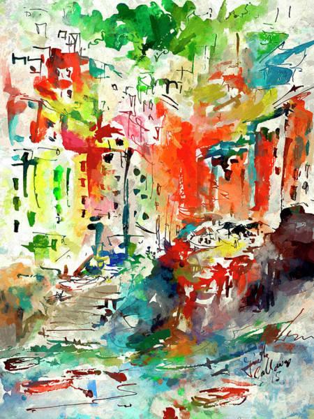 Mixed Media - Riomaggiore Impressions Cinque Terre Italy  by Ginette Callaway
