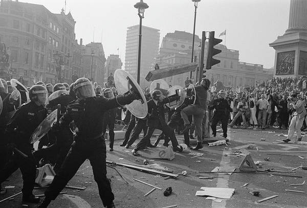 Police Force Photograph - Riot Police In London by Steve Eason