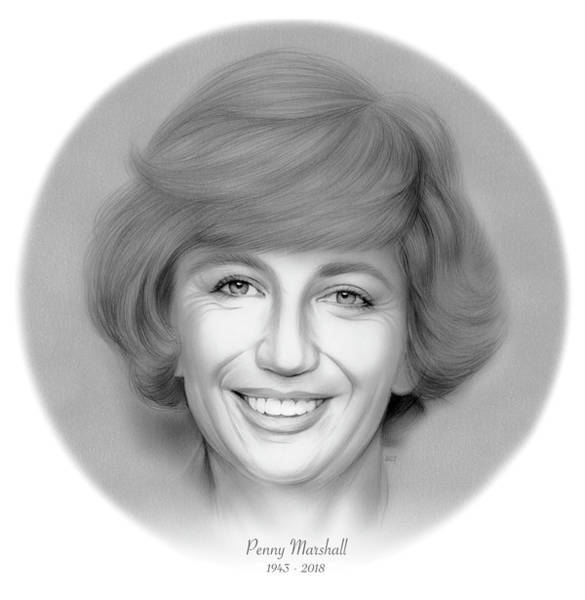 Comedy Wall Art - Drawing - Rip Penny Marshall by Greg Joens