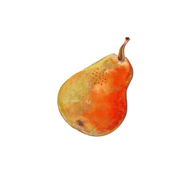 Juicy Drawing - Ripe Pear On White Background Drawing by Elena Sysoeva