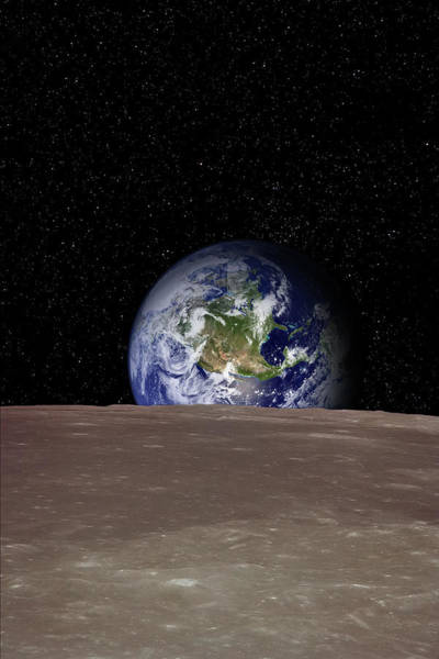 Vertical Landscape Photograph - Rising Earth Over Moon Surface by Photovideostock