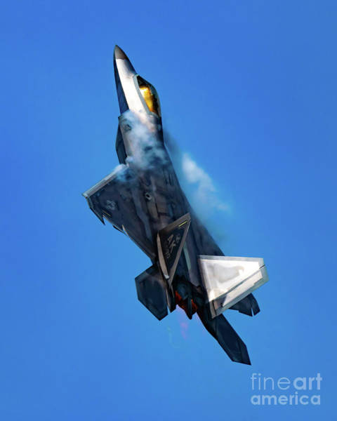 Elmendorf Photograph - Rising F-22 On Afterburner And Vapes In The Blue Yonder by Joe Kunzler