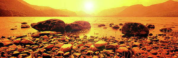 Object Digital Art - Rising Sun At Derwent Water. Lake by Raj Kamal