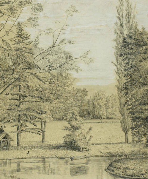 Wall Art - Drawing - River And Park Landscape by Henri Rousseau