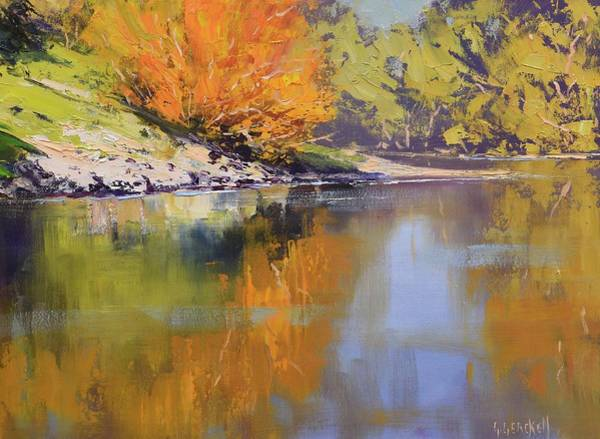 Wall Art - Painting - River Bank Reflections by Graham Gercken