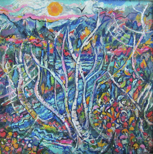 Painting - River Birches by Jean Batzell Fitzgerald