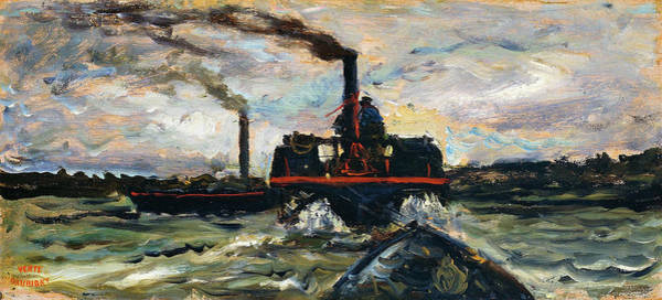Wall Art - Painting - River Boat - Digital Remastered Edition by Charles-Francois Daubigny