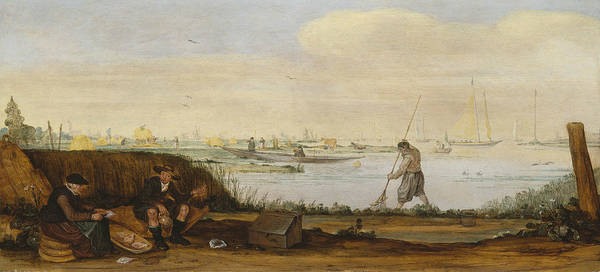 Wall Art - Painting - River Landscape With Boats And Fishermen by Arent Arentsz