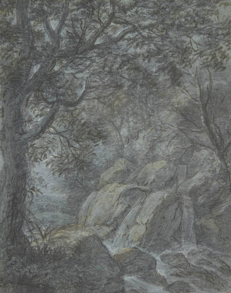 Wall Art - Drawing - River Landscape With Mountain Stream by Antonie Waterloo