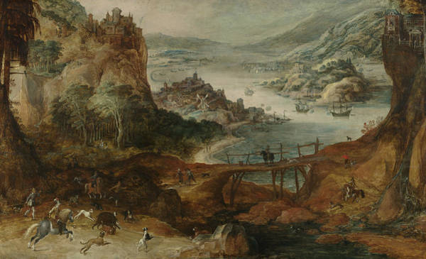 Painting - River Landscape With Wild Boar Hunt by Joos de Momper