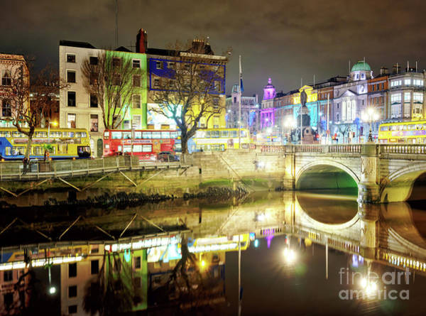 Wall Art - Photograph - River Liffey Colors At Night Dublin by John Rizzuto