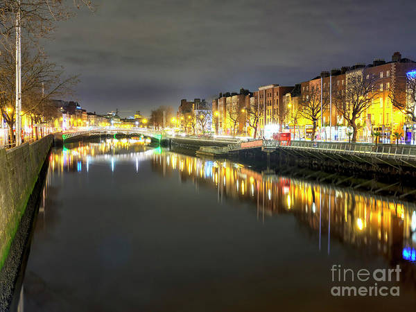 Wall Art - Photograph - River Liffey Light Reflections In Dublin by John Rizzuto