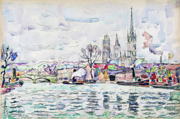 Neo-impressionism Wall Art - Painting - River Scene, Rouen - Digital Remastered Edition by Paul Signac