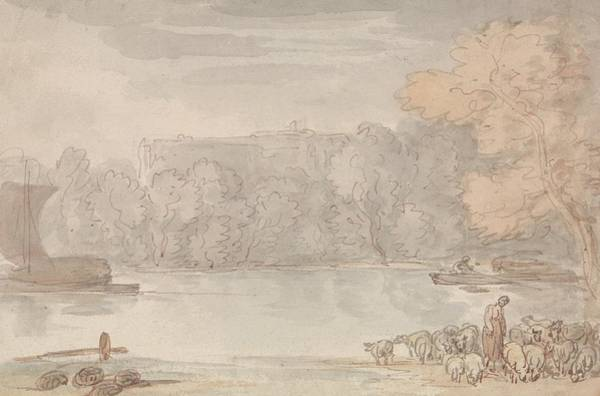 Drawing - River Scene by Thomas Rowlandson