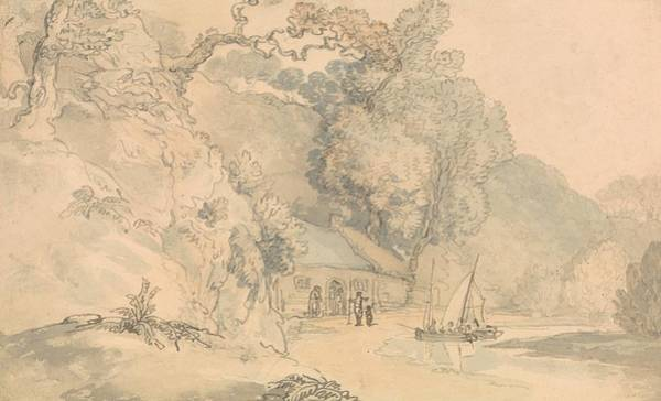 Drawing - River Scene With Small Boats by Thomas Rowlandson