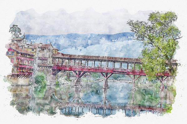 Wall Art - Digital Art - River #watercolor #sketch #river #bassano Del Grappa by TintoDesigns
