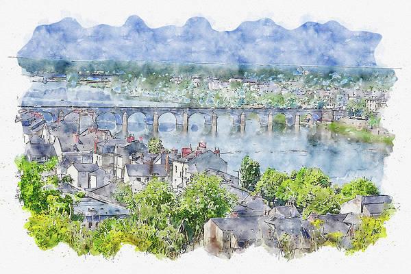 Wall Art - Digital Art - River #watercolor #sketch #river #bridge by TintoDesigns