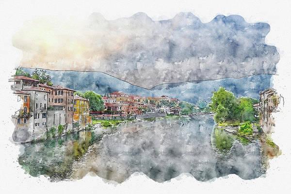 Wall Art - Digital Art - River #watercolor #sketch #river #house by TintoDesigns