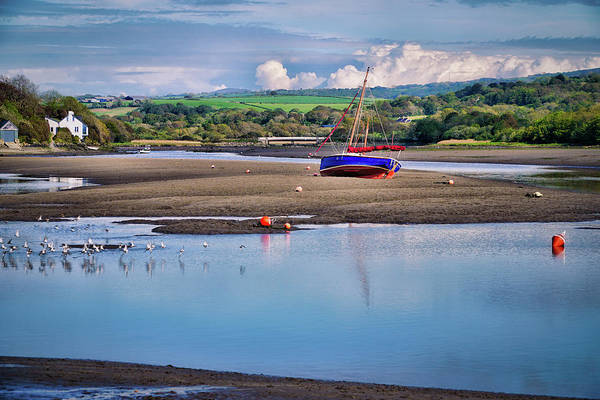 Wall Art - Photograph - River With Boat And Rural Scenery. Newport, Pembrokeshire by Harmony Of The Mind