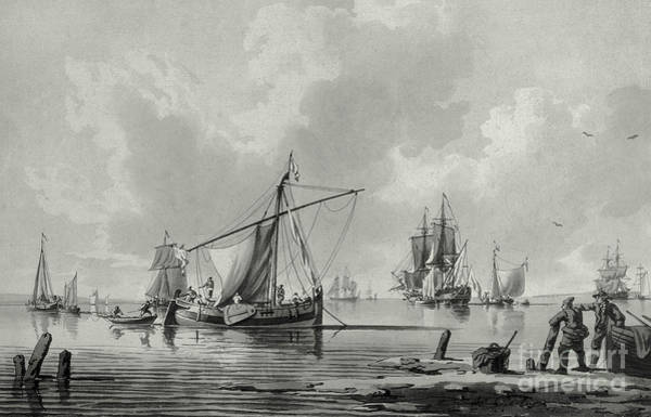 Grey Skies Drawing - River With Shipping, 18th Century by John the Younger Cleveley