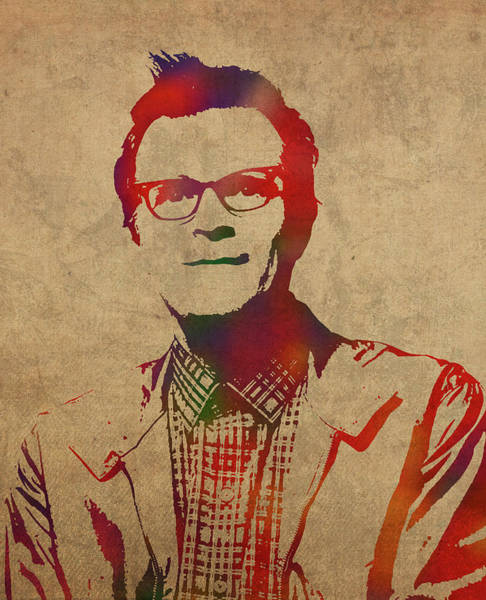 Rivers Mixed Media - Rivers Cuomo Weezer Watercolor Portrait by Design Turnpike