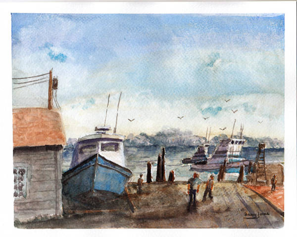 Painting - Riverside Dock by Barry Jones