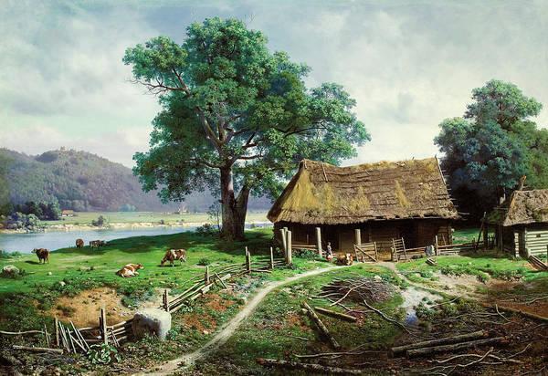 Farmstead Painting - Riverside Farmstead by Mikhail Clodt
