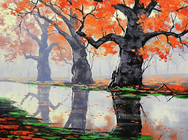 Wall Art - Painting - Riverside Trees by Graham Gercken