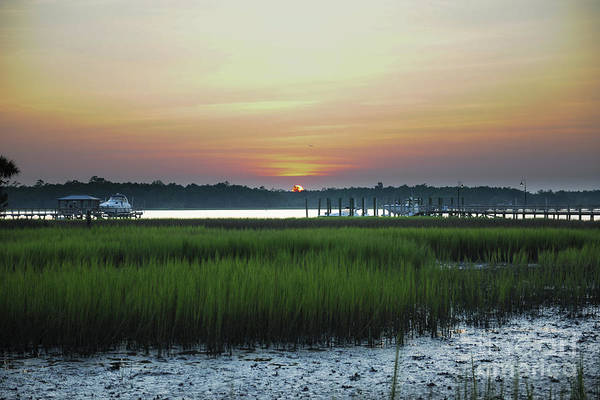 Photograph - Rivertowne On The Wando Golden Sky Sunset by Dale Powell