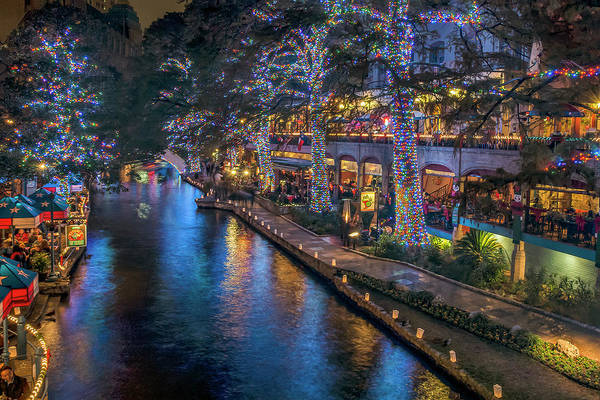 Photograph - Riverwalk Christmas Lights by Steven Sparks