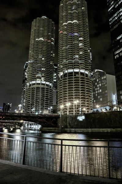 Wall Art - Photograph - Riverwalk Twin Towers - Chicago by Daniel Hagerman