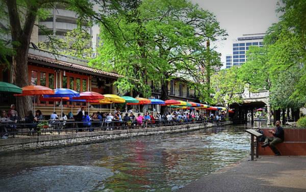 Photograph - Riverwalk Umbrellas by Kathy McCabe