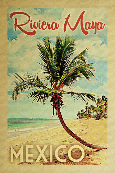 Wall Art - Digital Art - Riviera Maya Mexico Palm Tree by Flo Karp